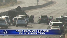 Chase, standoff closes Highway 101 in Santa Rosa for several hours