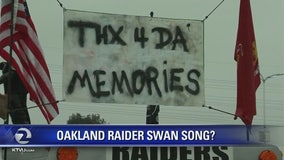 Raiders fans gather for what would be teams final game at Coliseum