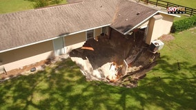 Sinkhole gobbles part of Florida home