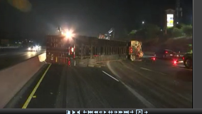 Overturned big rig closes EB lanes of I-80 in Pinole