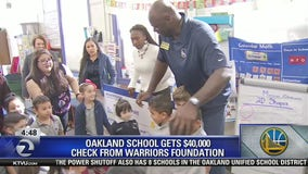 Warriors star gives Oakland school $40,000