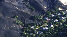 Aerial view over Moraga after Merrill Fire