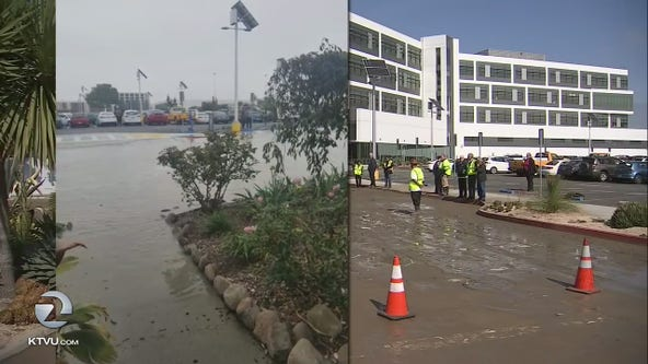 Main break water logs a dozen vehicles in SFO parking lot