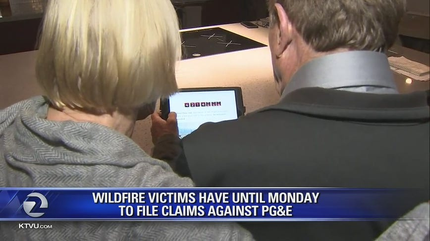 Wildfire victims have until Monday to file claims against Pacific Gas and Electric Company