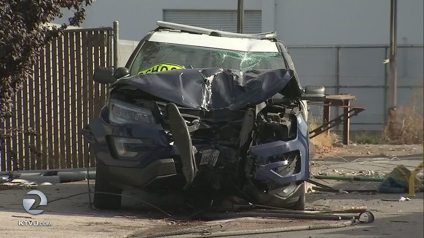 San Jose police officer nearly splits patrol SUV in two, takes out power pole