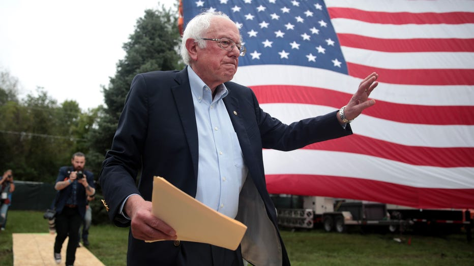 Democratic presidential candidate, Sen. Bernie Sanders (I-VT) greets guests at the Polk County Democrats' Steak Fry on September 21, 2019 in Des Moines, Iowa. (Photo by Scott Olson/Getty Images)