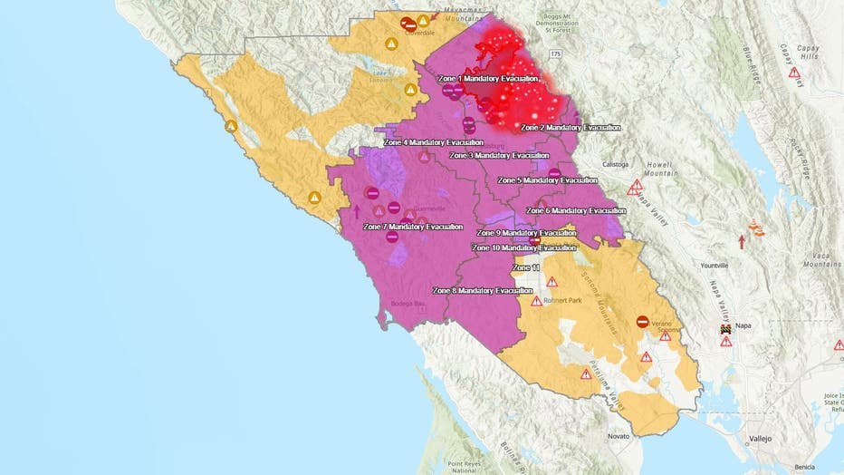 Santa Rosa Wildfire Map Mandatory evacuations due to Kincade Fire expand to city of Santa