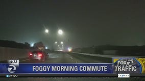 Dashcam view of a foggy morning in Oakland