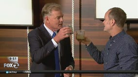 Hugh Groman shows Frank Mallicoat how to make ginger pear margaritas