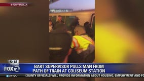 BART supervisor pulls man from oncoming train