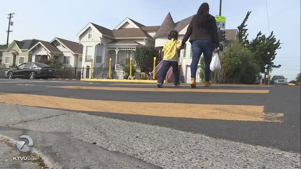 East Oakland crosswalks a little safer with newly-installed barriers