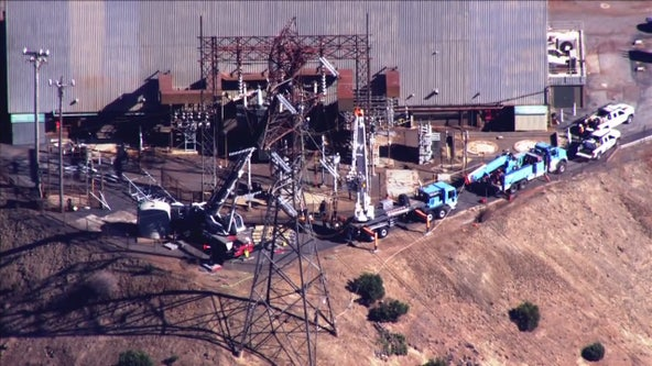 Crews working on PG&E transmission tower possibly linked to cause of Kincade Fire