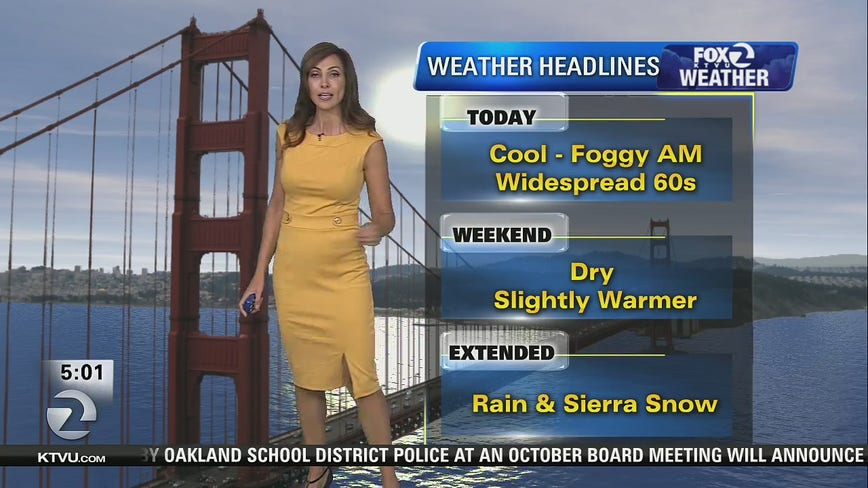 Cool, foggy, temps in 60s