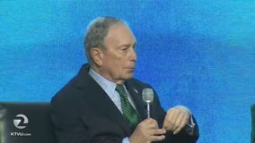 Michael Bloomberg makes campaign stops in Stockton, San Francisco.,