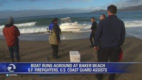 Four boaters rescued after craft runs aground on Baker Beach