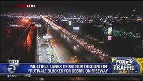 Multiple lanes of northbound I-880 blocked