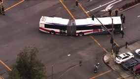 SkyFOX over fatal SamTrans accident involving pedestrian in Redwood City