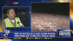 Gravel truck spills on US Highway 101
