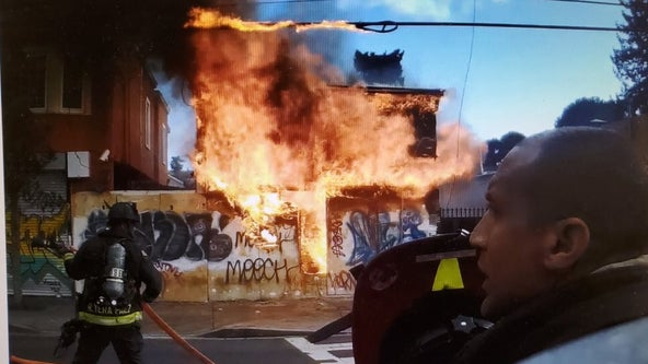 Oakland firefighters control structure fire at East Oakland building