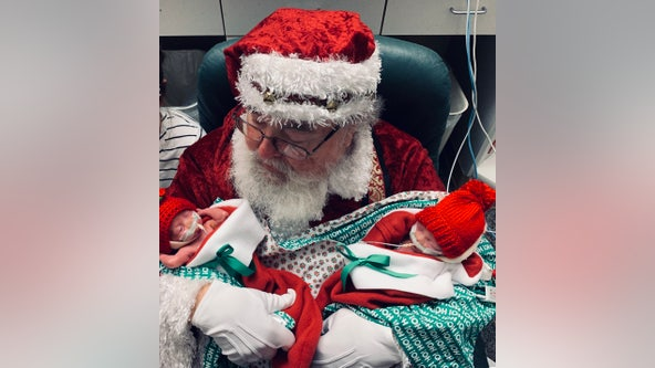 Baby's first Christmas! Santa stops by NICU at Memorial Hermann