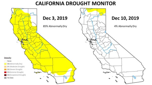Storms nudge most of California out of dry category