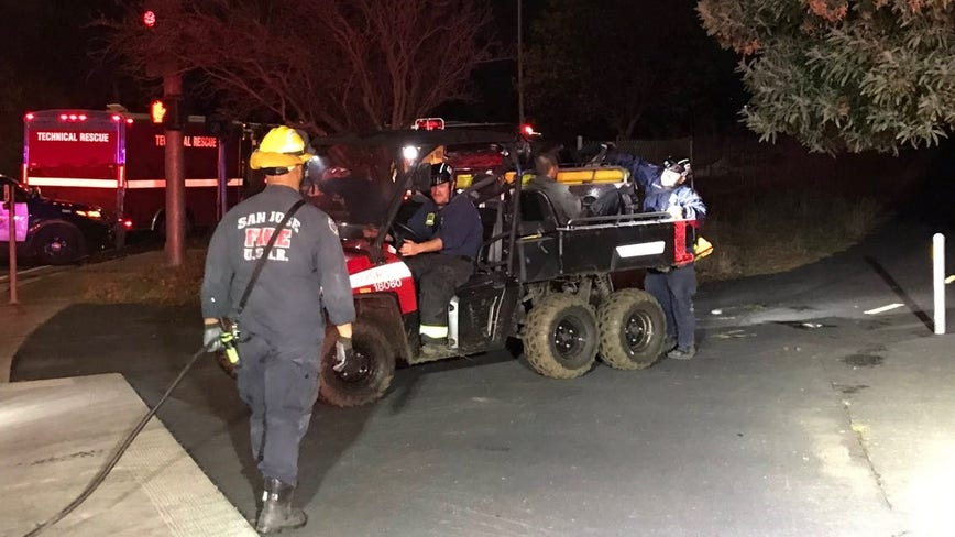Crews safely recover muddied driver from levee near Alviso
