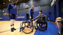 Young athlete with paraplegia receives surprise customized wheelchair from the Warriors