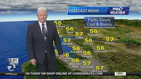 Partly sunny, cool, breezy