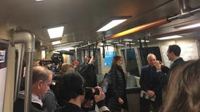 Billionaire candidate Bloomberg rides BART to Oakland, meets with Mayor Schaaf