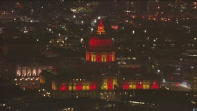 San Francisco City Hall decked out in 49ers red and gold
