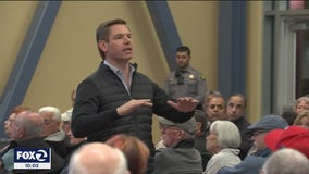 Contentious town hall in Dublin over guns with U.S. Rep Eric Swalwell