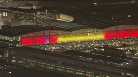 San Francisco International Airport decked out in 49ers Red and Gold
