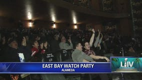 49ers fans watch Sunday's game from the Alameda Theater