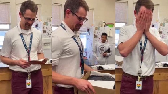 Teacher breaks down in tears after students pitch in to replace his stolen shoes