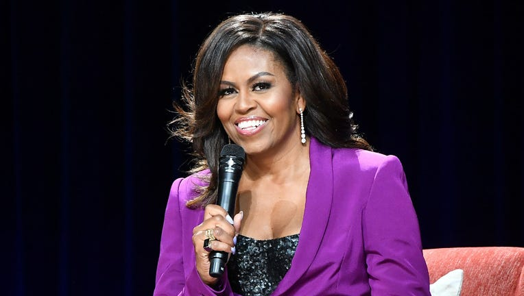 Former First Lady Michelle Obama attends 'Becoming: An Intimate Conversation with Michelle Obama' at State Farm Arena on May 11, 2019 in Atlanta, Georgia.