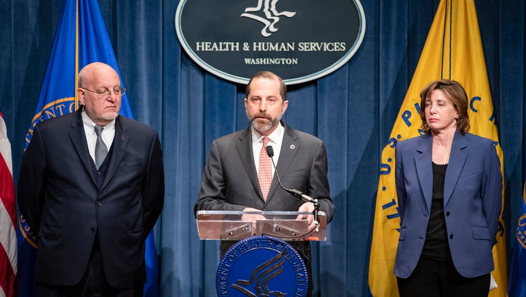Health and Human Services Secretary Alex Azar is shown during a press conference on Friday, Jan. 31, 2020. (Photo by Samuel Corum/Getty Images)