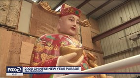 The evening before the 2020 Chinese New Year Parade in San Francisco