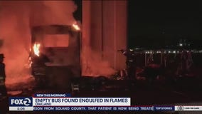 Empty bus in Oakland engulfed in flames