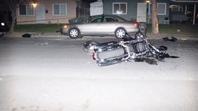 Motorcyclist fleeing police killed after crashing into parked car