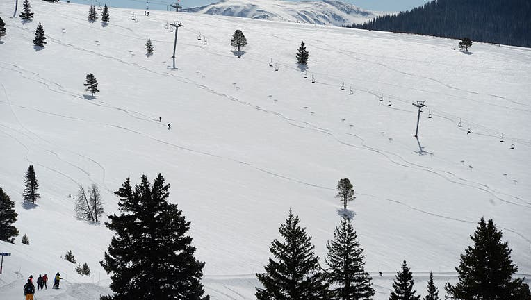 VAIL, CO - April 06: A couple of skiers negotiate the back bowls of the Vail Resort April 06, 2016. (Photo by Andy Cross/The Denver Post via Getty Images)