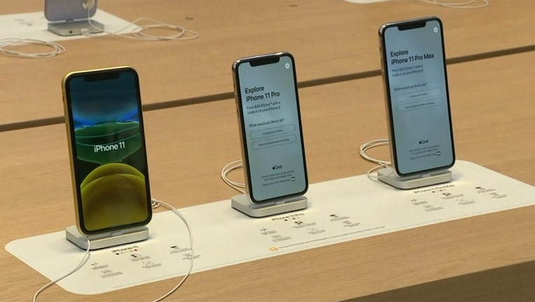 iPhones on display at the Apple Store on 5th Avenue in New York City.