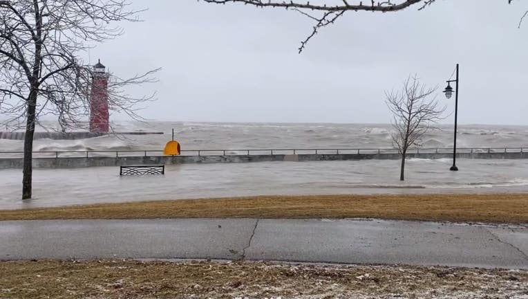 Lake Michigan flooding in January 2020 at the Illinois and Wisconsin border.