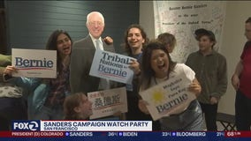 Supporters of Bernie Sanders packed his San Francisco office to watch election results