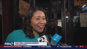Speaking with Mayor London Breed during SF Democratic watch party
