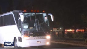 COVID-19: Busloads of cruise ship evacuees arrive at Travis Air Force Base for quarantine