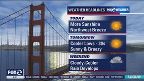Sunny, breezy with temps in 60s