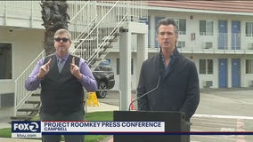 "Gov. Newsom announces ""Project Roomkey"" outside of Motel 6 in Campbell"