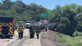 Tanker carrying over 1,000 gallons of 99 percent ethanol crashes along I-680
