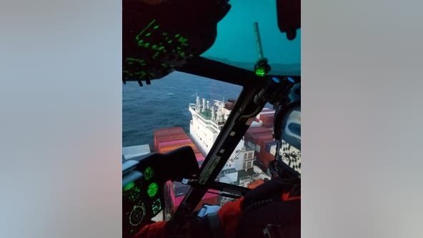 Coast Guard airlifts injured crew member from container ship