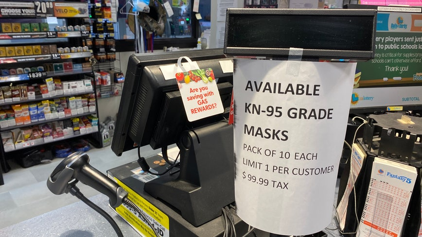 N95 masks selling for $10 apiece at gas station in Emeryville